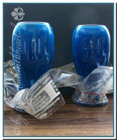 Glas färben mit Serviettenkleber und Lebensmittelfarbe