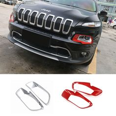 Find More Stickers Information about Newest Chrome/Red ABS Front Headlight Lamp…