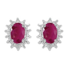 #amazon 14k White Gold Oval Ruby And Diamond Earrings - $249.99 (save 48%) #directjewelry #direct #jewelry