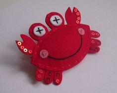 Cangrejo feliz de fieltro (happy felt crab)  cute! :)
