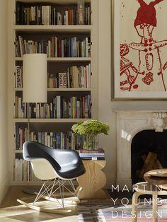 Martin Young Design - Interior Designer - New York - Contemporary - Cottage - Eclectic - Modern - Transitional - Living Room - Bookshelf - Shelving - Display - Books - Organization - Frame - Art - Gallery - Fireplace - Rug - Wood Floor
