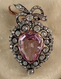 1880c Victorian Gold on Silver brooch pendant. Pink Topaz 9.5ct centre stone #broochesondresses