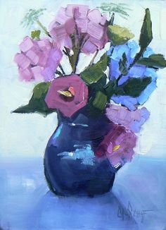 Still Life Floral Painting Daily Painting 6x8 by CarolSchiffStudio, $95.95