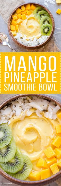 This Mango Pineapple Smoothie Bowl brings the tropics to your breakfast bowl! Customize the toppings on this ultra refreshing & healthy smoothie bowl for your ideal breakfast or snack. #SimpleExcercises