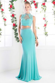Evening Dress CDCK20. Two Piece Evening Long Dress with Mermaid Hem, Cropped Sleeveless Bodice has Sparkling Jewels Embellished High Neckline featuring Front and Back Sheer Details, Floor Length Skirt with Flare Sweeping Train and Beaded Waist. https://www.smcfashion.com/wholesale-evening-dresses/evening-dress-cdck20