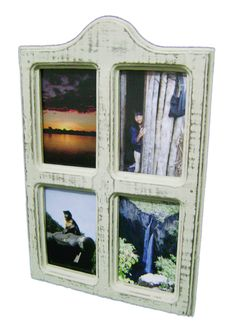 Porta-retratos de mesa feito de madeiras de pallets. Acabamento em pátina provençal.