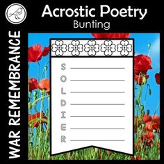 A poetry writing activity for your students that can be used for war remembrance days such as: ♦ Anzac Day ♦ Remembrance Day ♦ Armistice Day ♦ Memorial Day ♦ Veterans Day Write the acrostic poem, add colour, cut and display as bunting. Simply trim the flap off if you don't want to display it as bunting. Narrative Poetry, Writing Poetry, School Resources, Classroom Resources, Remembrance Day Poems, Poppy Template, Armistice Day, Anzac Day, Spelling Words