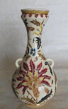 Antique-19th-C-ZSOLNAY-VASE-Hungary-Ceramic-Marked-Multi-Color