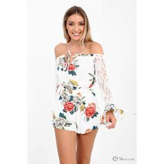 e971349209 Ladies white floral and lace off the shoulder playsuit wholesale - Women s  Wholesale Clothing Supplier