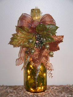 Decorative Bottles : Autumn wine bottle light -Read More – Wrapped Wine Bottles, Wine Bottle Corks, Glass Bottle Crafts, Painted Wine Bottles, Lighted Wine Bottles, Bottle Lights, Glass Bottles, Perfume Bottles, Christmas Wine Bottles