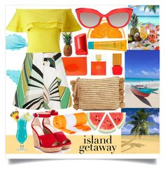 """Island get Away"" by keepfashion92 ❤ liked on Polyvore featuring Miss Selfridge, Lulu Guinness, Habit Cosmetics, Kate Spade, MDSolarSciences, Emilio Pucci, Bobbi Brown Cosmetics, Jimmy Choo, TIKI and Loeffler Randall"