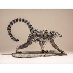 Ceramic ring-tailed lemur sculpture by artist Nick Mackman.