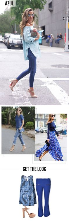 Como Usar: Looks Monocromáticos | One Color Outfit | Get the Look | Azul #moda…