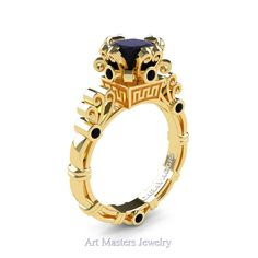 Art Masters Caravaggio 14K Yellow Gold 1.5 Ct Princess Black Diamond Engagement Ring R627-14KYGBD
