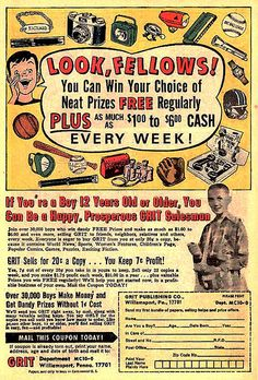 Comic book vintage ad for GRIT; did anyone ever see a copy of GRIT? I think its a newspaper in the US. Old Comic Books, Vintage Comic Books, Vintage Comics, Vintage Ads, My Books, Old Advertisements, Retro Advertising, Retro Ads, Baby Boomer