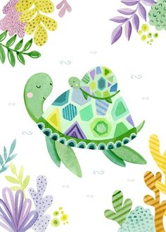 Leading Illustration & Publishing Agency based in London, New York & Marbella. Cute Turtles, Baby Turtles, Chat Kawaii, Turtle Rock, Doodle Pages, Baby Art, Cute Illustration, Poster, Cute Drawings