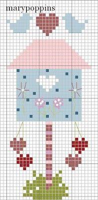 free cross stitch pattern of a birdhouse Cross Stitch House, Cross Stitch Heart, Cross Stitch Animals, Cross Stitch Flowers, Cross Stitching, Cross Stitch Embroidery, Embroidery Patterns, Cross Stitch Designs, Cross Stitch Patterns