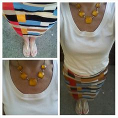 White t-shirt, multi colored skirt, summer work outfit
