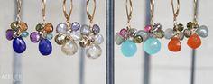 Gemstone flower earrings!! <3 Goldfilled, tundra sappire, multicolor tourmaline, lapis lazuli, african amethyst, rutilated quartz, labradorite, pyrite, chalcedony aqua, aquamarine moss, cornaline. Available at: www.facebook.com/ateliergabymarcos