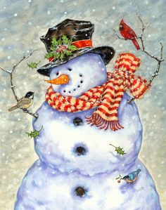 Snowman and Bird Friends