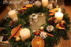 . m i k s t e j p .: :: DIY ~ ADVENT WREATH :: Christmas Advent Wreath, Christmas Decorations, Table Decorations, Christmas Is Coming, Winter Holidays, Wreaths, Diys, Home Decor, Crafting