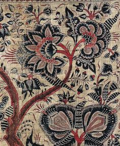 Detail: late-17th-century painted mordant-dyed and painted cottonCoromandel Coast palampore made for the Indonesian market. Collection of Thomas Murray, California. Published in John Guy's book,Woven Cargoes: Indian Textiles in the East.