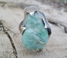 Rough emerald and sterling silver ring. Adjustable ring. by Unics, $73.00
