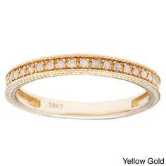 10k White Gold 1/6ct TDW Diamond Wedding Band (G-H, I1-I2) (Yellow Gold - Size 6), Women's