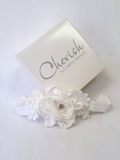 a2246710a9a9 Maya Headband by Cherish by Carita Adams. #babyheadband #christening  #flowergirl #firstbirthday