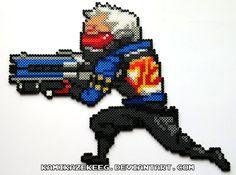 Overwatch Soldier 76 Perler Bead by kamikazekeeg