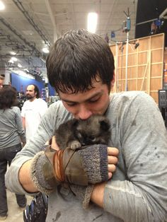 "dylan o'brien as Thomas in Maze Runner. Stumbled across this pic and in my head I'm going, ""AWWWWWWW!"" What is it with guys and they're adorable puppies?!?"
