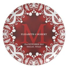 Customizable monogram keepsake gift #Plate ~ A fusion of Batik, Tribal and a sprinkle of Bohemian design in deep red and white colours | designed by webgrrl @ alternative weddings #zazzle #wedding #giftideas