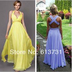 bccfcb280152 2014 New Fashion Cheap Yellow Halter V Neck Prom Dresses Chiffon Beaded Criss  Cross Open Back
