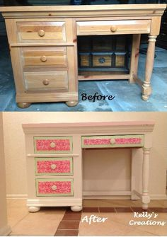 Hand-painted white, pink and green desk with damask patterned drawers and hearts on the drawer handles.  Refinished by Kelly's Creations.  https://www.facebook.com/pages/Kellys-Creations-Refinished-Furniture/524028237619793
