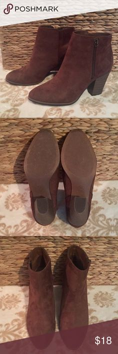"""Brown Heeled Booties Chocolate Brown faux suede bootie with block heels. Approx 3"""" Heel. Excellent used condition. Reasonable offers welcome. Merona Shoes Heeled Boots"""