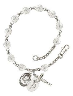 Pope Emeritus Benedict XVI Silver-Plated Rosary Bracelet with 6mm Crystal Fire Polished beads