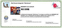 Martianos. Max Lesnik. Miembro de Honor