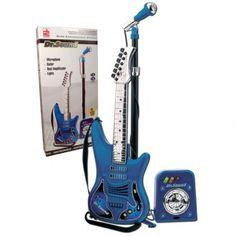 Guitarra electrónica de 6 cuerdas dr. sound con micrófono y bafle amplificador con luces