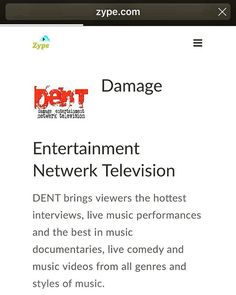 DENT damage entertainment netwerk television on the Zype platform. #enterthezonetv #zype #digitaltvcontent #theindikatortvhost #blackmogul #DENTDamageTV #TheSpotTVShow #WelcomeToTheBookstoreTVshow #ottcontent #videoondemandtv #getmoneyfilmz http://ift.tt/2pE1Vvw http://ift.tt/2nQ0wFM