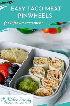 Use your leftover seasoned taco meat for easy meal prep. These pinwheels are filled with a mixture of taco meat, cream cheese, cheddar cheese, diced red and green bell peppers! Place them in your lunch box with chips, guacamole, and fresh fruit for an easy school or work lunch. Healthy Beef Recipes, Ground Beef Recipes, Low Carb Recipes, Crockpot Recipes, Easy Meal Prep, Easy Meals, Taco Pinwheels, Leftover Taco Meat, Best Easy Dinner Recipes