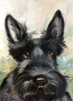 SPARROW Scottish Terrier Scottie  dog  art painting auction .. No reserve Mary Sparrow original art
