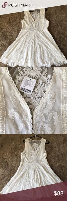 NWT Free people lace dress size 8 NWT-Free people lace dress size 8. Hook and eye closures at the front and zipper closure at the side. Unfinished hem. Ivory color. Never worn, tags attached. No trades Free People Dresses Mini