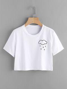 Clothing T-shirt with clouds pattern - German SheIn (Sheinside) ClothingSource : T-Shirt mit Wolken Muster- German SheIn(Sheinside) by louzucky Crop Top Outfits, Hipster Outfits, Teen Fashion Outfits, Trendy Outfits, Summer Outfits, Girl Outfits, Tumblr T-shirt, Vetement Fashion, Mode Streetwear