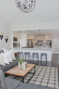 Cool Open Concept Living Room and Kitchen | Open Concept Living Room | Open Concept Kitchen | Shiplap Island | Herringbone Table Top | Neutral Home Décor Ideas | Lovesac Sactional | White and ..