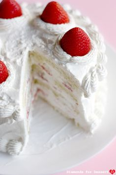 Strawberry Cake.  Beautiful. Self note, I would however perhaps add some creme patisserie to this :)