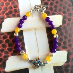 LSU Purple and Gold  Beaded Bracelet by DungleBees on Etsy, $24.99