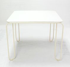 Mid-Century Modern Square White-Top and Wire Legs Game Table | From a unique collection of antique and modern game tables at https://www.1stdibs.com/furniture/tables/game-tables/
