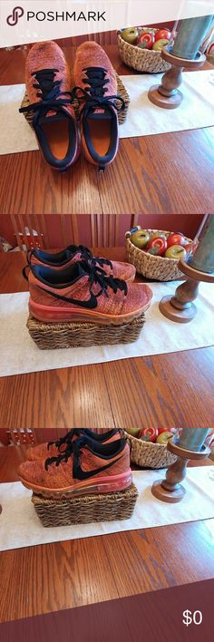 Nike Flyknit Max Sneakers sz 9 EUC..wear shows on outer sole only..sz  9..nice colors  tangerine/ pink and other color.. Nike Shoes Athletic Shoes