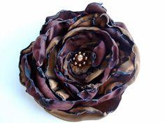 Chocolate Brown Fabric Flower Hair Clip, Mixture of Browns Pin Brooch, Costume Jewelry, Bridesmaids hair accessories, Women, Girls, Teens