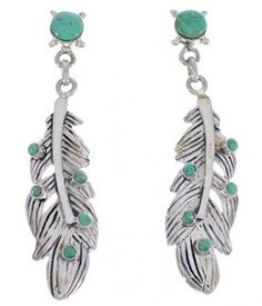 Sterling Silver Feather And Turquoise Post Dangle Earrings PX30590